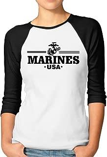 POPT! Woman USA Marines Eagle Corps Raglan Shirt Black