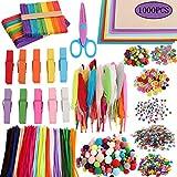 Amasawa 1000 Piezas Pipe Cleaners Crafts Set,Pompones Ojos Manualidades Kit,Limpiadores de Pipa Chenilla y Pompoms,Que Incluyen Papel de Esponja A4, Bolas de Pelo,Lentejuelas, Etc.