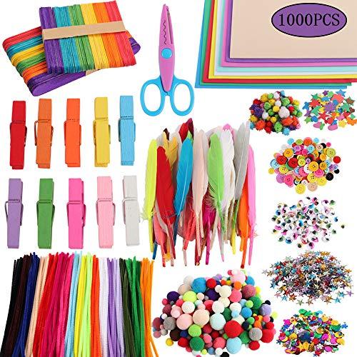 Amasawa 1000 Piezas Pipe Cleaners Crafts Set,Pompones Ojos Manualidades Kit,Limpiadores de Pipa...