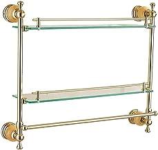 Badkamerplanken Gele Jade Toilet Plank Glas Badkamer Europese Dubbellaagse Standaard Cosmetische Gouden Jade Handdoek Hang...