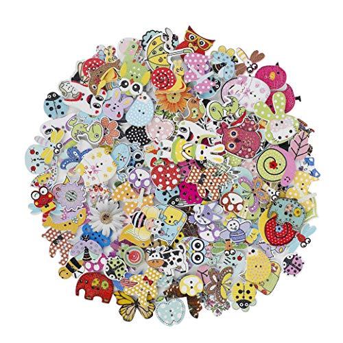 HONGXIN-SHOP Bottoni Colorati Decorativi in Legno Bottoni Animaliper Cucito e Lavorazione per Il Mestiere di Cucito Scrapbooking e Fai da Te a Mano Ornamento 150 Pezzi