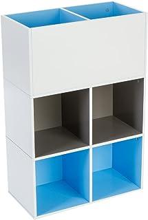 Meuble étagère Cube pour chambre d'enfants - 6 compartiments - Coloris BLEU, TAUPE et BLANC