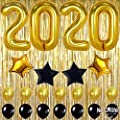 2020 Balloons Gold Decorations Banner – Large, Pack of 23 | Black Gold Star Mylar Foil and Latex Ballon, Metallic Gold Fringe Curtain | Graduations Party Supplies, New Years Eve Party Supplies 2020