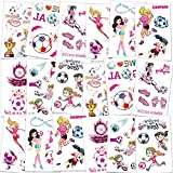 Konsait 101 PCS Soccer Temporary Tattoos Football Ball Tattoos for Girls Kids Boys World Cup Soccer Tattoos Birthday Party Bag & Stocking Fillers Kids Games Gift Great Tattoo Party Favor Supplies