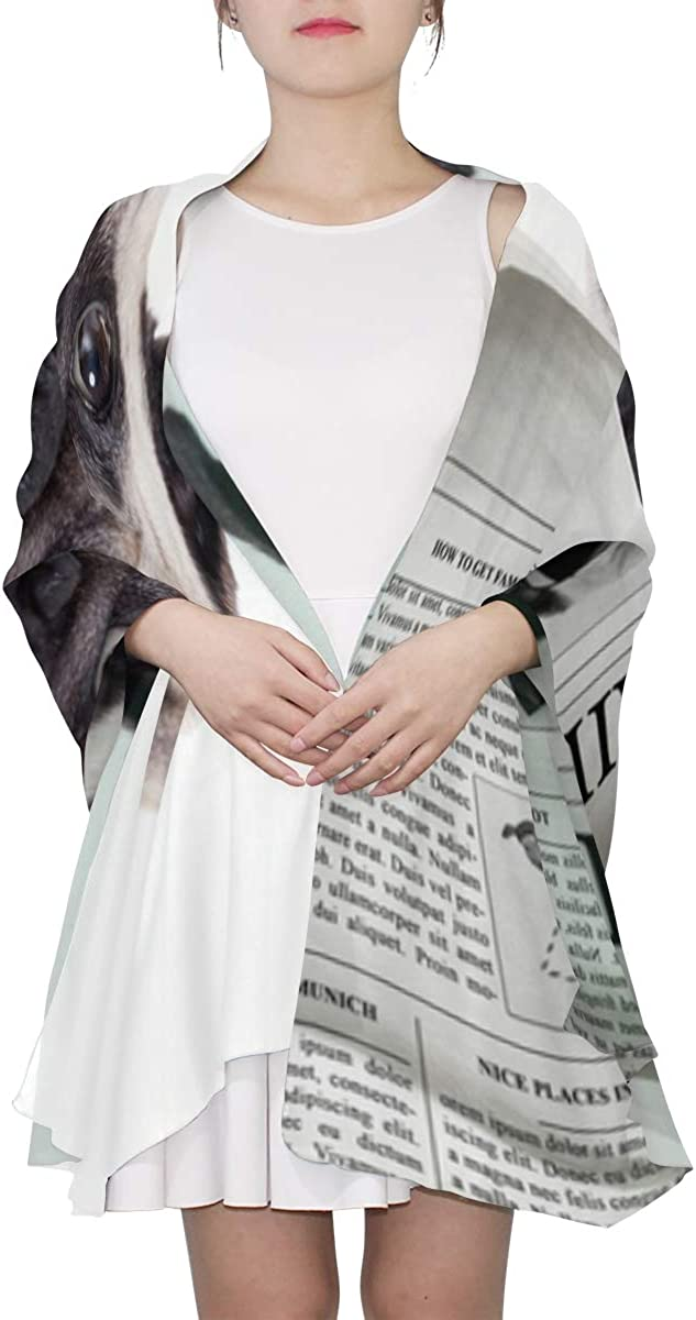 Dog Reading Newspaper Or Magazine Unique Fashion Scarf For Women Lightweight Fashion Fall Winter Print Scarves Shawl Wraps Gifts For Early Spring