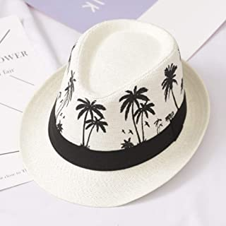 Summer Sunscreen Wide-brimmed Hat Beach Leisure Travel Fashion Men's Sunscreen Wide-brimmed Straw Fedora (Color : Ivory)