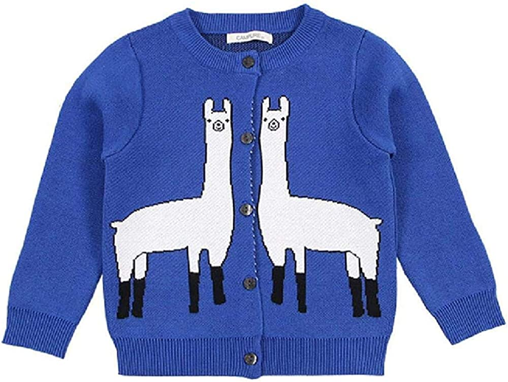 New Baby Girl Knitted Sweater Kids Cardigans Knitwear Boy Clothing Alpaca Printed Cotton Outer Wear