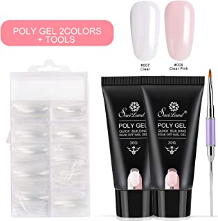 Poly Gel Nail Kit, Saviland 2 Colors UV Builder Gel Finger Extension Gel Quick Building Gel 30 ml with Nail Brush Nail Forms Tips Nail Art Kit(Clear and Clear Pink)