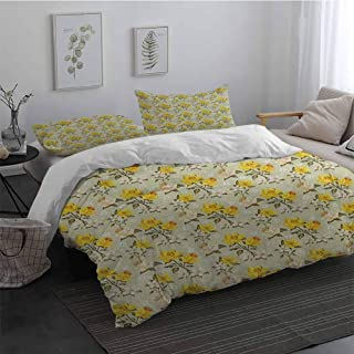 3 Pieces Ultra Soft Zipper Closure Bedding Set Vintage Narcissus Blossoms Little Wildflowers Green Leaves Classical Festive Extra Soft Deep Pockets Yellow Cream Pale Green Long Twin