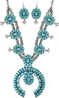 Turquoise Vintage Squash Blossom Metal Statement Necklace/w Earrings No.785