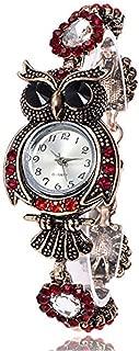 Triskye Womens Analog Quartz Watches Business Casual Vintage Owl Korean Velvet + Drill Strap Band Round Wrist Watch Girls Ladies Wristwatch Bracelet for Teen Girls