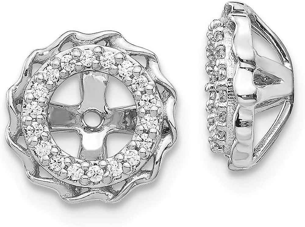 14K White Gold Twisted Edge Diamond Earring Jackets