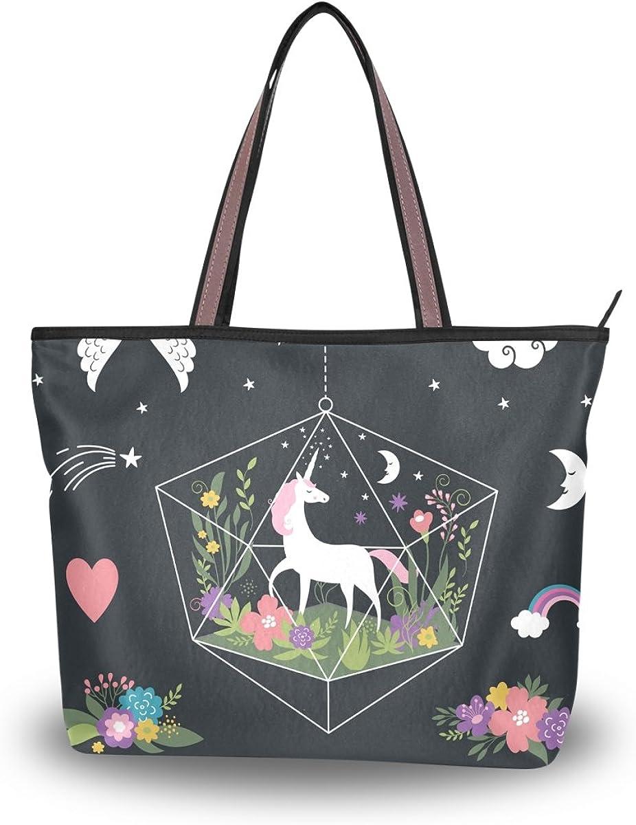 JSTEL Women Large Tote Top Handle Shoulder Bags Unicorns Flowers Patern Ladies Handbag