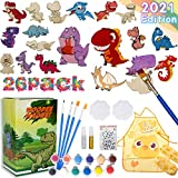 Nobie vivid Craft Kit and Art Set for Kids, Dinosaur Wood Painting , Wooden Magnets Art and Craft Supplies Party Favors for Boys Girls Age 4 5 6 7 8, Christmas Crafts
