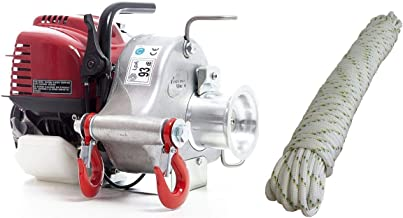 Portable Winch PCW3000 Gas-Powered Capstan Pulling Winch with PCA-1205M Double-Braided Polyester Rope (Bundle, 2 Items)