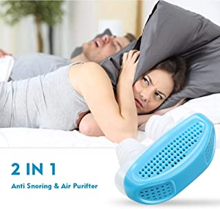 2 in 1 Soft Anti Snoring Device and Air Purifier -Sleep Device Prevent Snoring Clip Breathing Sleep Nose Care Filters- Snoring Solution Nasal Dilator for Breathing (Blue)