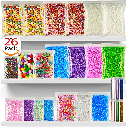 Foam Beads For Slime - 26Pack Slime Beads - Rainbow Floam Beads For Slime - Colorful Styrofoam Beads Kit - Foam Balls Set - Fishbowl Beads - Supplies For Slime Making Art DIY Craft For Kids Girls Boys