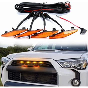 D-Lumina LED Grille Light For Toyota 4Runner TRD Pro 2014 2015 2016 2017 2018 2019 - Raptor Style Amber Lights Kit (Including SR5, TRD off-road, Limited, TRO Pro) W/Fuse Adapter & The Wiring Harnes