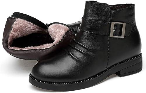Cuero Genuino de Las damenes Stiefel de Felpa del Invierno Caliente de la Piel Stiefel schwarz PU de la Hebilla del Tobillo de la Nieve