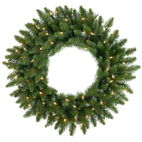 Vickerman Clear Dura-lit Lights Frosted Bellevue Alpine Artificial Christmas Wreath, 30-Inch
