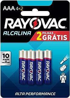 Rayovac 20917 Pilha Alcalina Aaa, Am4, 1.5V, Pacote com 4, Palito