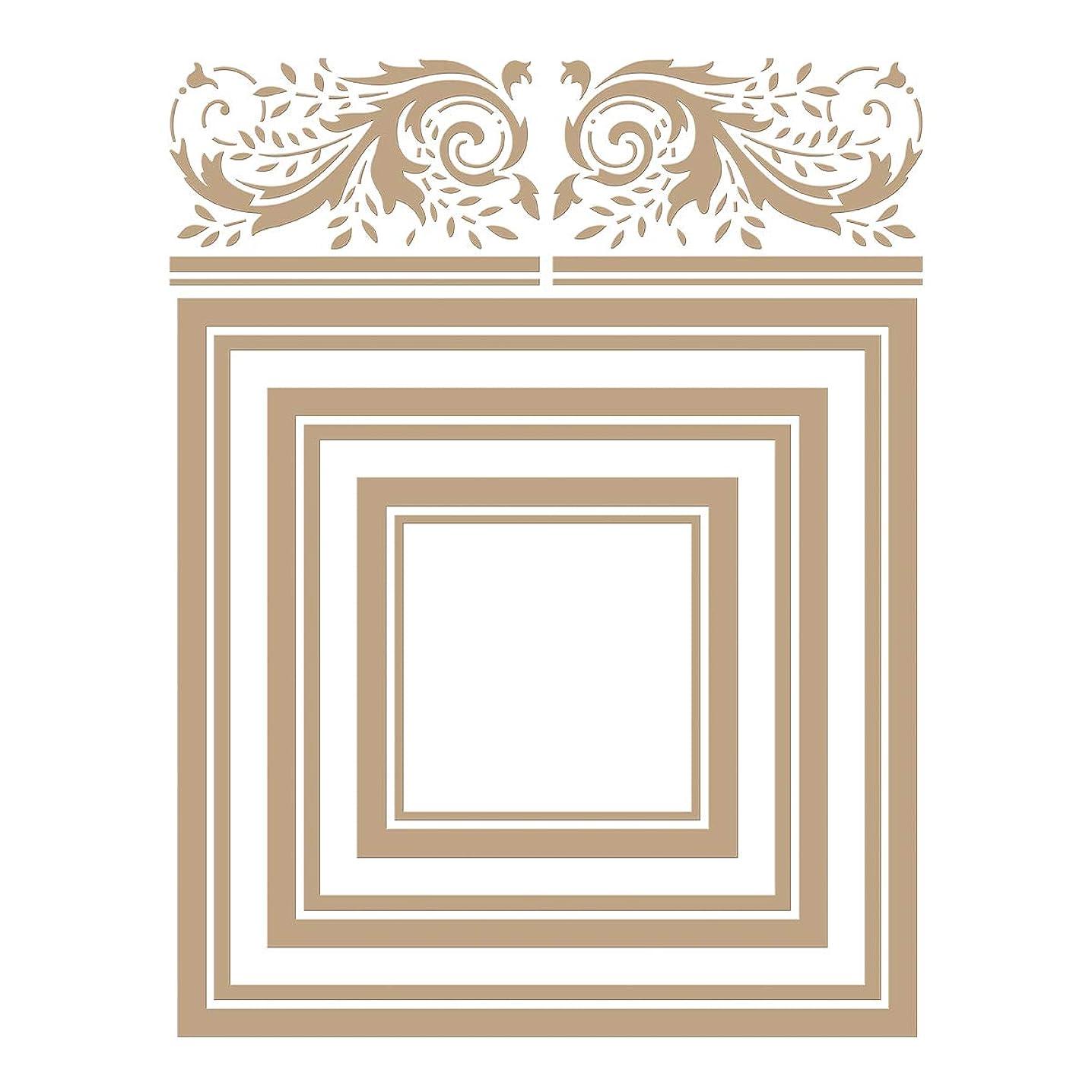 Spellbinders GLP-127 Crowned Rimmed Squares Glimmer Hot Foil Plate, Metal