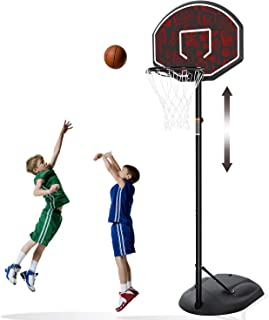 MaxKare Portable Basketball Hoop & Goal Basketball System Stand Height Adjustable 5.5ft -7.5ft with 32 in Backboard & Wheels for Youth Kids Outdoor Indoor Basketball Goal Game Play …
