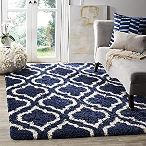 Safavieh Hudson Shag Collection SGH284C Moroccan 2-inch Thick Area Rug, 8′ x 10′, Navy / Ivory
