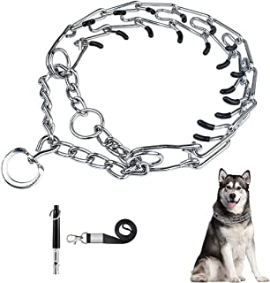 ELECDON Dog Prong Traing Collar, Choke Collar for Dogs, for Large, Medium and Small Dogs, Includes 1 Training Whistle with...