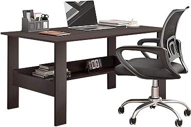 Bedroom Study Desk, Home Desktop Computer Desk Bedroom Laptop Study Table Office Desk Workstation (Black)