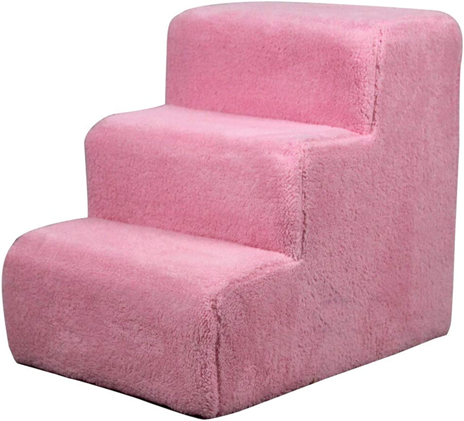 Adjustable 3 Step Dog Stair Washable Cat Dog Climb Green Sponge Stair Puppy Teddy Sofa Bed Ladder (color   Pink)