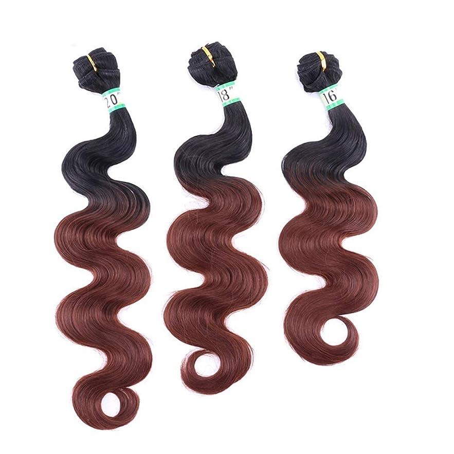 プラグサイクル寂しいYrattary 実体波3バンドルヘアエクステンション - T1 / 33#ブラウンツートンカラー髪織り70g /バンドル(16