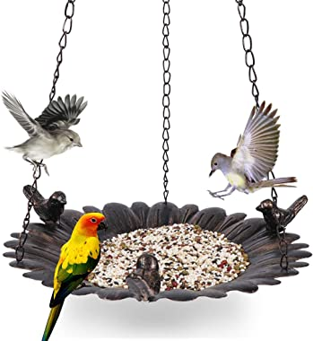 Kimdio Bird Feeder for Outside, Bird Baths for Outdoors, Feeders Hanging Tray, Seed Tray for Hanging, Outdoor Garden Backyard