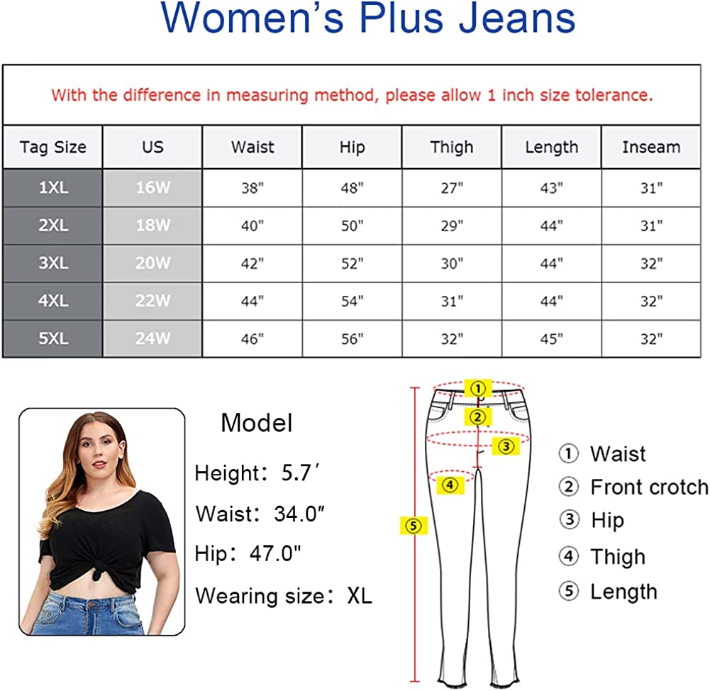ALLABREVE Women Plus Size Ripped Stretch Skinny Jeans, High Rise Distressed Denim Jegging