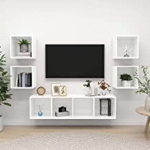Witte Spaanplaat Furniture5 Stuk TV Kabinet Set Witte Spaanplaat