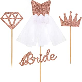 Bride To Be 12pcs Cake Topper Sparkling Glitter Rose Gold Bride To Be Diamond Ring Wedding Dress Cupcake Toppers for Engag...