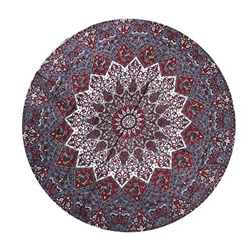 MY DREAM CARTS Tapiz Redondo con diseño de Mandala para Colgar en la Pared, de algodón Indio