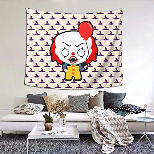 HARTG Halloween Clipart Clown 60×51 Inch Tapestry Wall Hanging, Wall Art Decoration for Living Room Bedroom Home Decor