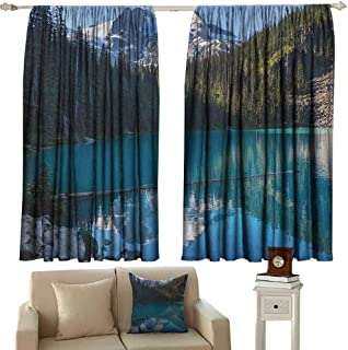 Landscape Wear-Resistant Color Curtain Lake in Northern Canada with Slim Trees and Snowy Frozen Mountain Novelty Waterproof Fabric W100 x L63 Inch Blue White Green