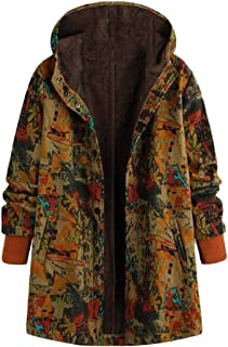 Macondoo Women Fashion Hoodie Fleece Lined Coat Button Printed Jackets