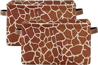 Tropicallife F17 Lot de 2 paniers de rangement pliables en toile avec poignée Motif girafe