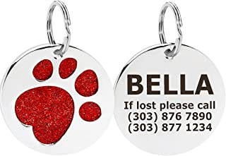Taglory Pet ID Tag,Personalized Dog & Cat Tags,Cute Glitter Paw Shapes with Name Phone Number Address for Small Medium Large Breeds
