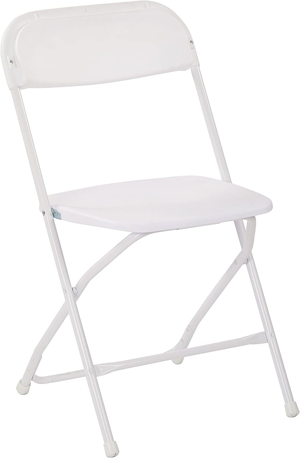 Work Smart RC8811A4 Plastic Seat and Back Stacking Folding Chairs with Steel Frame, 4 Pack, White