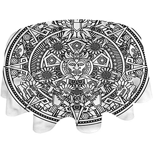 Round Tablecloth Mesoamerican Patio Table Cloth Native Aztec Table Cover for Dining Room and Party Round,36 inch