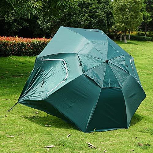 Yppss Außen großer Sonnenschirm Vordach Sonnenschirm Boden Angeln Regenschirm Strand Camping-Zelt Pergola Windsicher Regen Regenschirm, Grün Eternal (Color : Red)