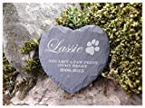 <span class='highlight'>Memorial</span> Plaque Personalised Engraved Natural Slate Heart Shape Pet Grave Marker