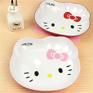 LIN-rlp Decoration Dinner Plates Snacks Fruit Dish Dessert Bowl Dishes Ice Cream Tubs Pudding Box Kitchen Bar Tools Cartoon Hello Kitty (Color : Pink)