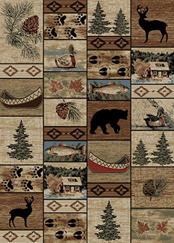 Rug Empire Rustic Lodge River Run Cabin 8X10 Area Rug, 7'10x9'10