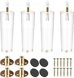Btowin - Patas de acrílico para muebles 4 unidades con rosca M8 de 5/16 pulgadas placa de montaje y tornillos para mesa...
