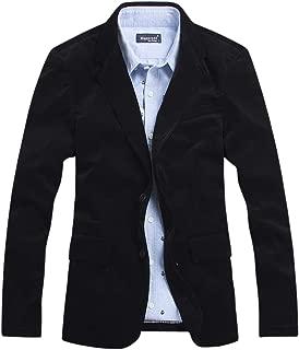 chouyatou Men's Corduroy Slim Fit Two-Button Blazer with Elbow Patches
